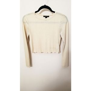 Forever 21 Cream Cropped Long Sleeve